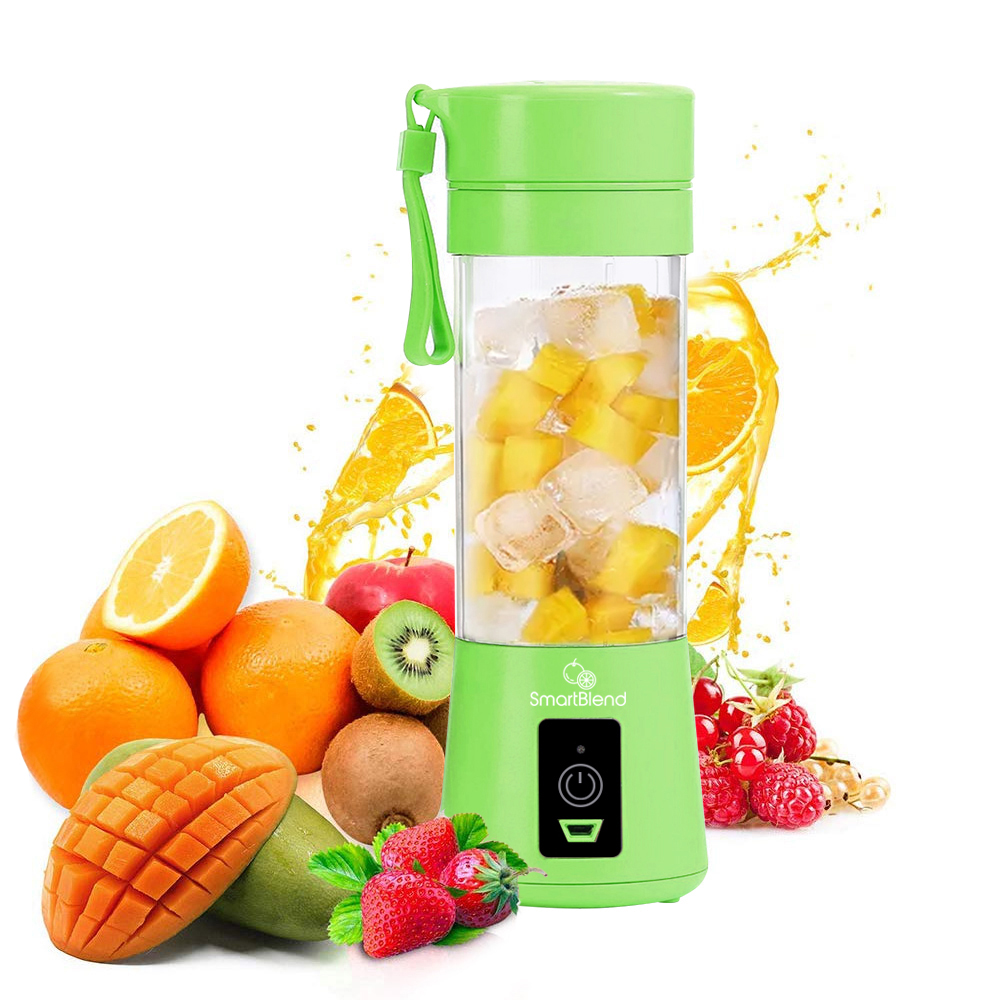 Portable Blender Green with Fruit